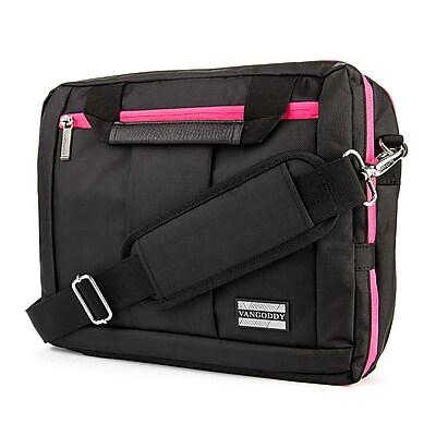 Vangoddy Nylon Backpack Messenger Shoulder Bag Case for 11 to 12 Inch Laptop, Black Pink (PT_NBKLEA273_17)