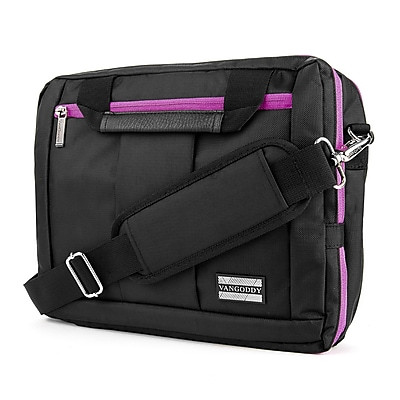 Vangoddy Nylon Backpack Messenger Shoulder Bag Case for 15.6 Inch Laptop, Black Purple (PT_NBKLEA295_17)