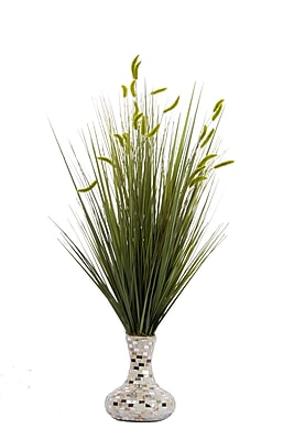 "Laura Ashley Onion Grass and Cattail in Pearl Mosaic Vase 32""H (VHA102449)"