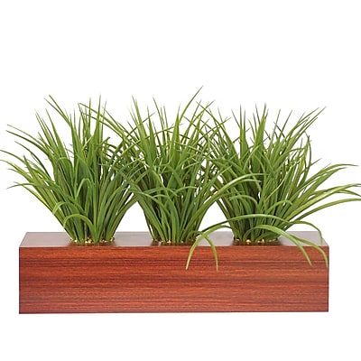Vintage Home Plastic Grass in Wooden Pot 12