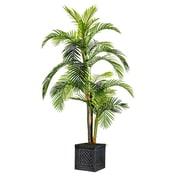 "Laura Ashley 90"" Tall Palm Tree in Fiberstone Lattice Cube Planter (VHX124215)"