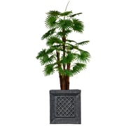 "Vintage Home 72"" Tall Fan Palm Tree, Burlap Kit and Fiberstone Planter (VHX129215)"