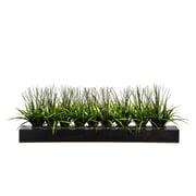 "Vintage Home 13"" Tall Green Grass in Wood Pot, Designer Black (VHA100056.WDB)"