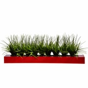 "Vintage Home 13"" Tall Green Grass in Wood Pot, Red (VHA100056.RED)"