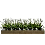 """Vintage Home 13"""" Tall Green Grass in Wood Pot, Taupe (VHA100056.TPE)"""