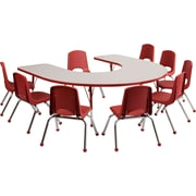 """ECR4Kids Thermo-Fused Adjustable 66""""L x 60""""W Horseshoe Laminate Activity Table Grey/Red (ELR-14203-GYRDRDTS)"""