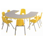 "ECR4Kids Thermo-Fused Adjustable 66""L x 60""W Horseshoe Laminate Activity Table Grey/Yellow (ELR-14203-GYYEYESB)"