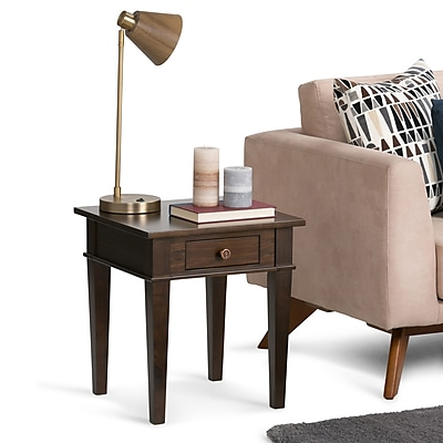 Simpli Home Carlton 18 inch End Side Table in Tobacco Brown (3AXCCRL-03)