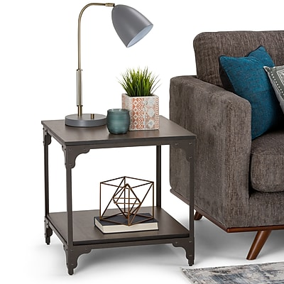 Simpli Home Nantucket 21 inch Square End Side Table in Walnut Brown (3AXCNTT-03)