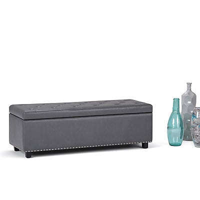 Simpli Home Hamilton Faux Leather Storage Ottoman in Stone Grey (3AXCOT-239-G)