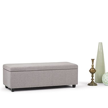 Simpli Home Kingsley Linen Look Storage Ottoman in Cloud Grey (3AXCOT-240-CLG)