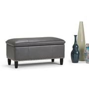 Simpli Home Emily Faux Leather Storage Ottoman in Stone Grey (3AXCOT-247-G)