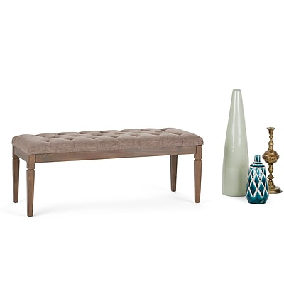 Simpli Home Waverly Tufted Ottoman Bench in Linen Look Fabric in Fawn Brown (3AXCOT-250-BRL)