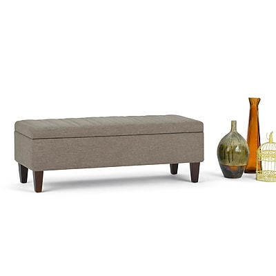 Simpli Home Monroe Linen Look Storage Ottoman in Fawn Brown (3AXCOT-251-BRL)