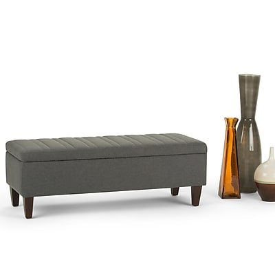Simpli Home Monroe Linen Look Storage Ottoman in Slate Grey (3AXCOT-251-SGL)