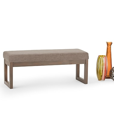 Simpli Home Milltown Linen Look Large Ottoman Bench in Fawn Brown (3AXCOT252LGBRL)