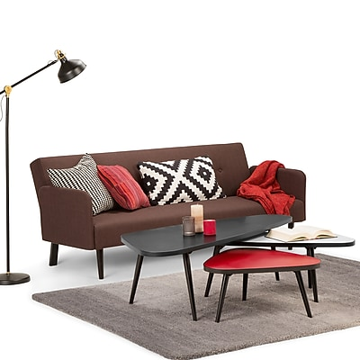 Simpli Home Aubrey 55 x 23.5 inch 3 Pc Nesting Coffee Table Set in Midnight Black Red and White (AXCABY-02)