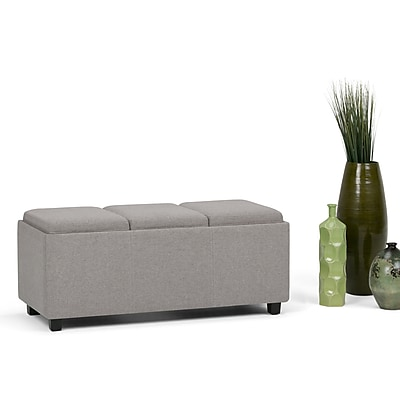 Simpli Home Avalon Linen Look Storage Ottoman in Cloud Grey with Three Trays (AXCAVAOTBN2CLG)