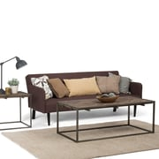 Simpli Home Avery 48 x 24 inch Coffee Table in Distressed Java Brown Wood Inlay (AXCAVY-01)
