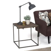 Simpli Home Avery 20 inch Square End Side Table in Distressed Java Brown Wood Inlay (AXCAVY-02)