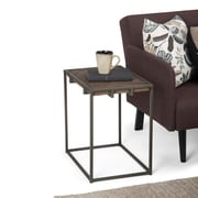 Simpli Home Avery 20 x 14 inch Narrow End Side Table in Distressed Java Brown Wood Inlay (AXCAVY-04)