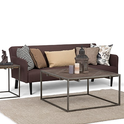 Simpli Home Avery 34 inch Square Coffee Table in Distressed Java Brown Wood Inlay (AXCAVY-05)