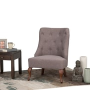 Simpli Home Aston Linen Look Fabric Accent Chair in Fawn Brown (AXCCHR-03-BRL)