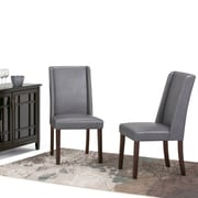 Simpli Home Sotherby Faux Leather Parson Dining Chair in Stone Grey (Set of 2) (AXCDCHR-002-G)