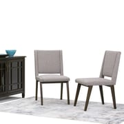 Simpli Home Draper Mid Century Linen Look Fabric Dining Chair in Grey (Set of 2) (AXCDCHR-006-G)