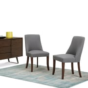 Simpli Home Walden Linen Look Deluxe Dining Chair in Slate Grey (Set of 2) (AXCDCHR-007SGL)