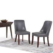Simpli Home Walden Faux Leather Deluxe Dining Chair in Stone Grey (Set of 2) (AXCDCHR-007STG)