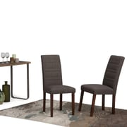 Simpli Home Gibson Linen Look Dining Chair in Midnight Grey (Set of 2) (AXCDCHR-008-MG)
