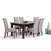 Simpli Home Avalon 7 piece Dining Room Set in Cloud Grey Linen Look Fabric (AXCDS7 AVL CLG) by