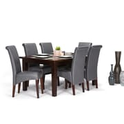 Simpli Home Avalon 7 piece Dining Set in Stone Grey Faux Leather (AXCDS7-AVL-G)