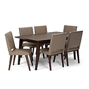 Simpli Home Draper Mid Century 7 piece Dining Set in Ash Blonde Bonded Leather (AXCDS7DRP-ASB)