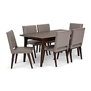 Simpli Home Draper Mid Century 7 piece Dining Set in Taupe Bonded Leather (AXCDS7DRP-TP)