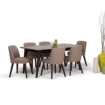 Simpli Home Emery Mid Century 7 Piece Dining Set in Fawn Brown Linen Look Fabric (AXCDS7EMR-BRL)