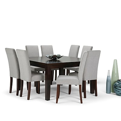 Simpli Home Acadian 9 piece Dining Set in Cloud Grey Linen Look Fabric (AXCDS9-ACA-CLG)