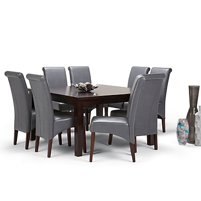 Simpli Home Avalon 9 piece Dining Set in Stone Grey Faux Leather (AXCDS9-AVL-G)