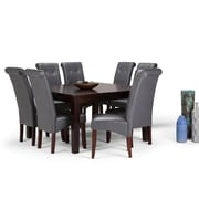 Simpli Home Cosmopolitan 9 piece Dining Set in Stone Grey Faux Leather (AXCDS9-COS-G)