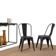 Simpli Home Fletcher Metal Dining Side Chair in Distressed Black with Copper (Set of 2) (AXCFLE-01-DBL)