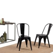 Simpli Home Fletcher Metal Dining Side Chair in Black (Set of 2) (AXCFLE-01-GBL)