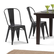 Simpli Home Fletcher Metal Dining Side Chair in Grey (Set of 2) (AXCFLE-01-SL)