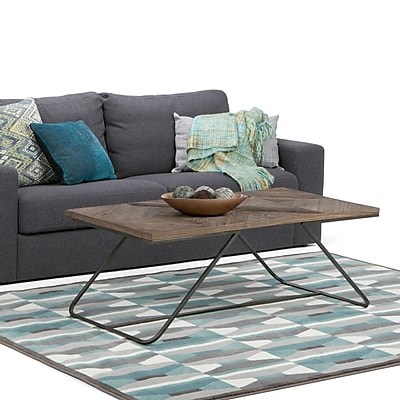 Simpli Home Hailey 48 x 24 inch Coffee Table in Distressed Java Brown Wood Inlay (AXCHLY-01)