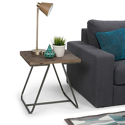 Simpli Home Hailey 20 inch Square End Side Table in Distressed Java Brown Wood Inlay (AXCHLY-02)