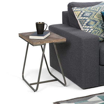 Simpli Home Hailey 14 x 20 inch Narrow End Side Table in Distressed Java Brown Wood Inlay (AXCHLY-04)