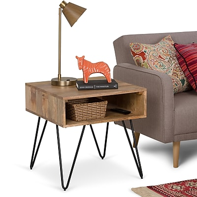Simpli Home Hunter 22 inch Square End Side Table in Natural Mango Wood (AXCHUN-02)