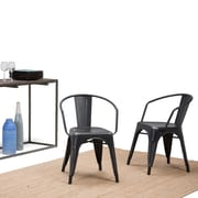 Simpli Home Larkin Metal Dining Arm Chair in Distressed Black and Silver (Set of 2) (AXCLAR-01-DBL)