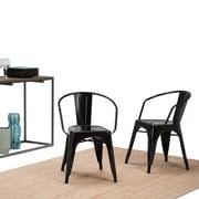 Simpli Home Larkin Metal Dining Arm Chair in Black (Set of 2) (AXCLAR-01-GBL)