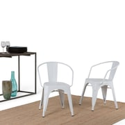 Simpli Home Larkin Metal Dining Arm Chair in White (Set of 2) (AXCLAR-01-WH)
